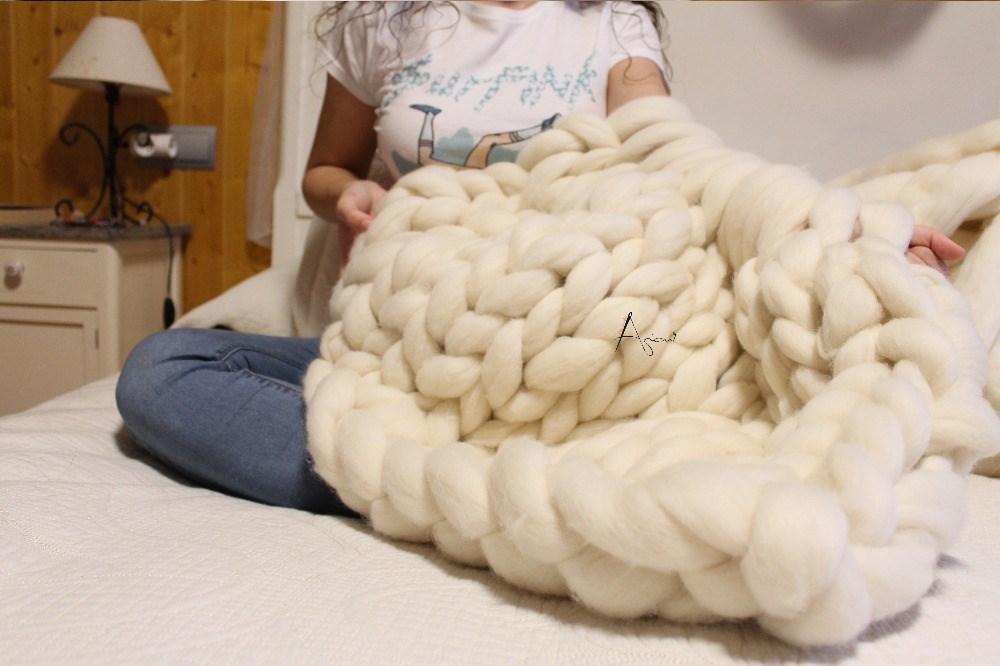 Manta de lana xxl merina ovillo de lana merina xxl super for Mantas de lana hechas a mano